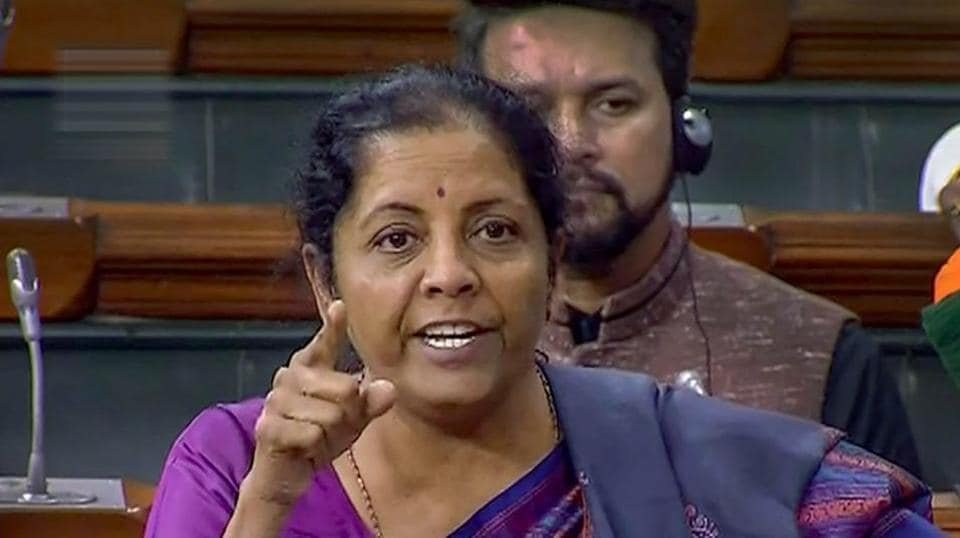 New Delhi: Defence Minister Nirmala Sitharaman speaks in the Lok Sabha during the Budget Session of Parliament, in New Delhi, Friday, Feb. 08, 2019.