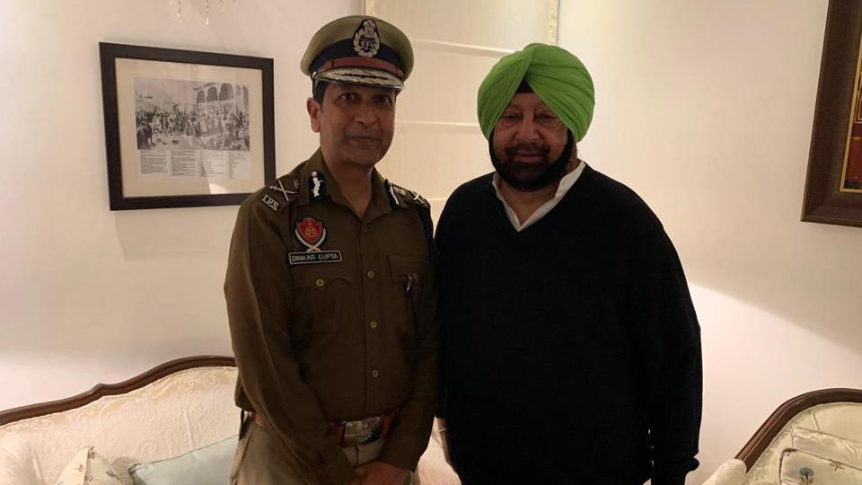 Chief Minister Captain Amarinder Singh meets with new DGP of Punjab Dinkar Gupta, Chandigarh on Thursday, Feb 7, 2019.