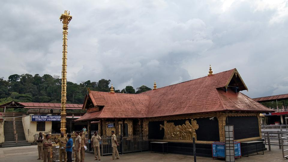 Police stand inside the premises of the Sabarimala temple in Pathanamthitta district in the southern state of Kerala, India, October 17, 2018.