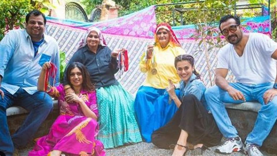 Taapsee Pannu and Bhumi Pednekar on the set of Womaniya.