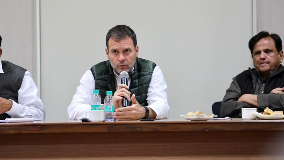 Congress president Rahul Gandhi addresses a meeting of state party leaders in Delhi on Saturday.