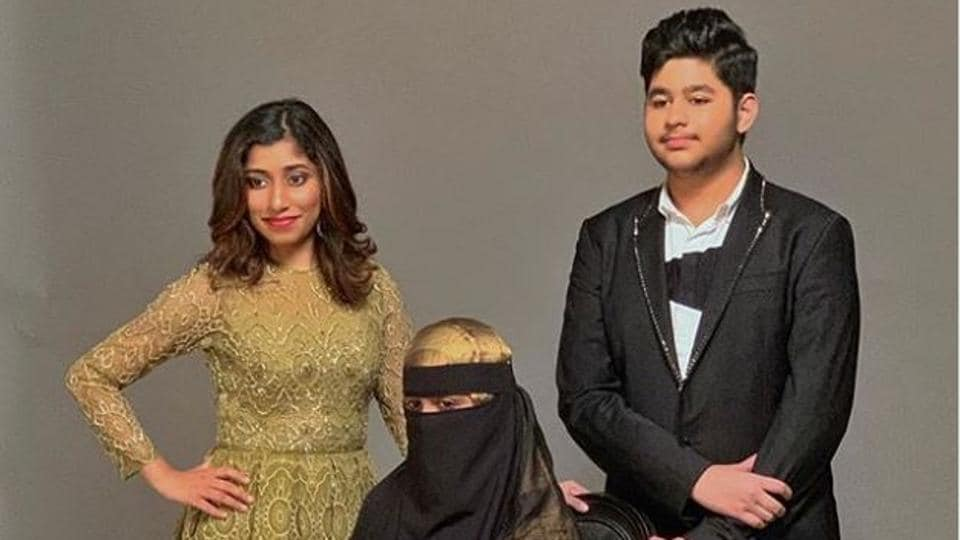 AR Rahman's daughters Raheema, Khatija and son Ameen pose for a magazine.