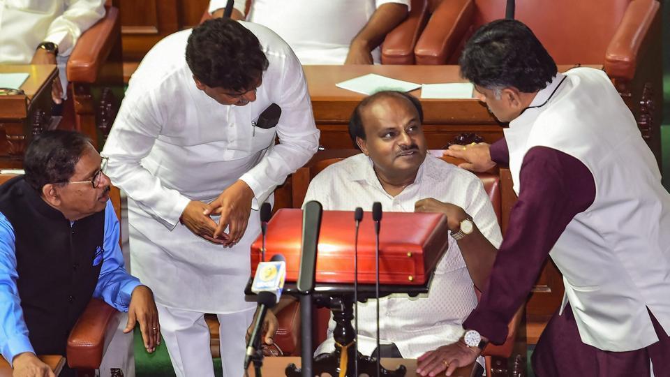 Karnataka Chief Minister HD Kumaraswamy during the Budget session of Karnataka assembly.