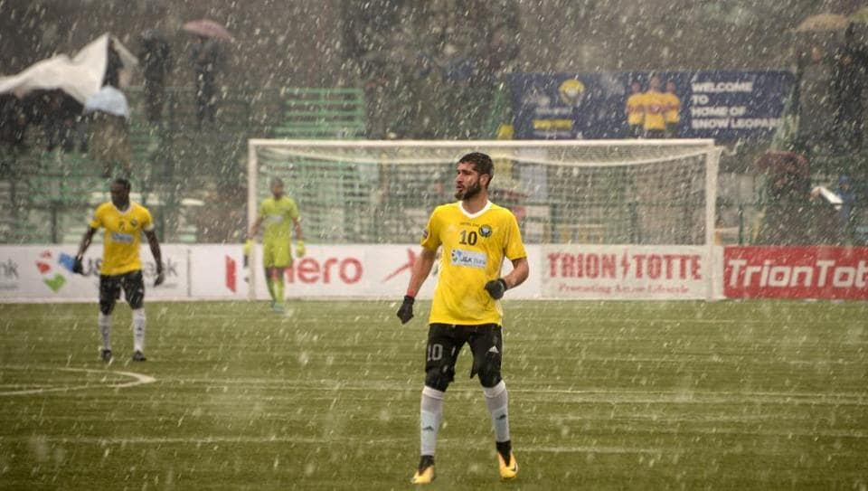 Real Kashmir's Danish Farooq looks during their I-League club football match against Gokulam Kerala FC on February 06, 2019. Bullets are heard every day in the world's most militarised zone, but shots fired on goal by Danish Farooq have become a revelation in Kashmir. Farooq has defied stone-pelting protesters and pellets shot by security forces to make it to training. (Tauseef Mustafa / AFP)
