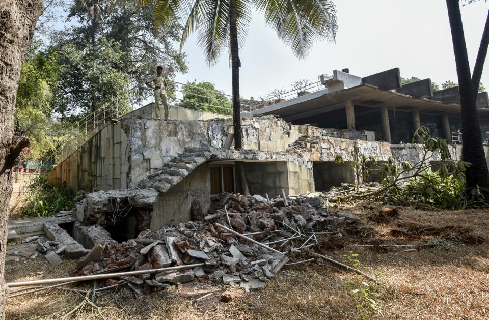 The residence was demolished following a high court order to raze all illegal constructions in the area. The ED, which had attached it, handed over possession to the Raigad collectorate.