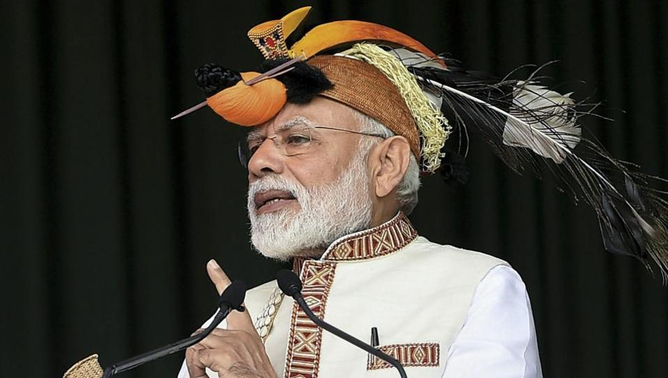 Prime Minister Narendra Modi addresses the gathering at the inauguration of several development projects, in Itanagar, Saturday, Feb 9, 2019.