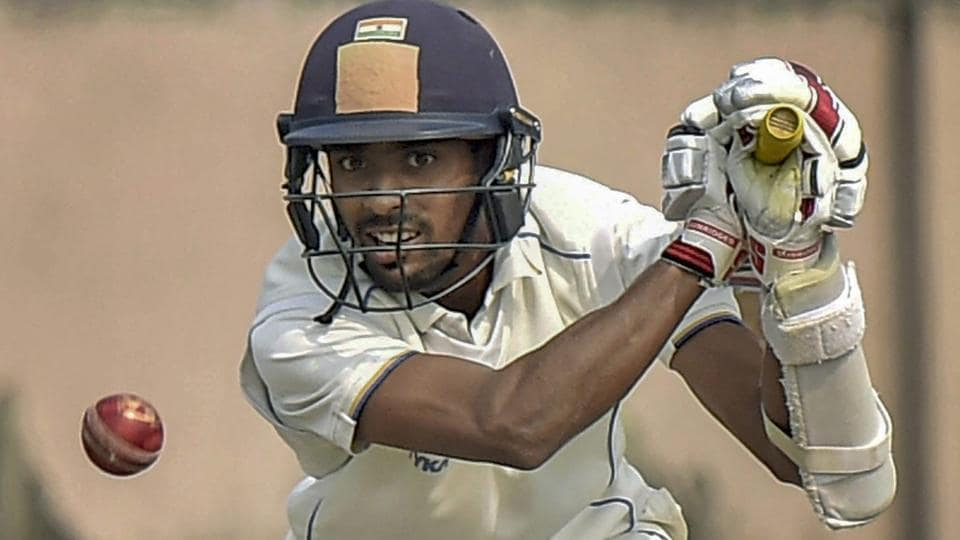 Abhimanyu Easwaran hits a shot on the 3rd day of their Ranji Trophy cricket match against Punjab.