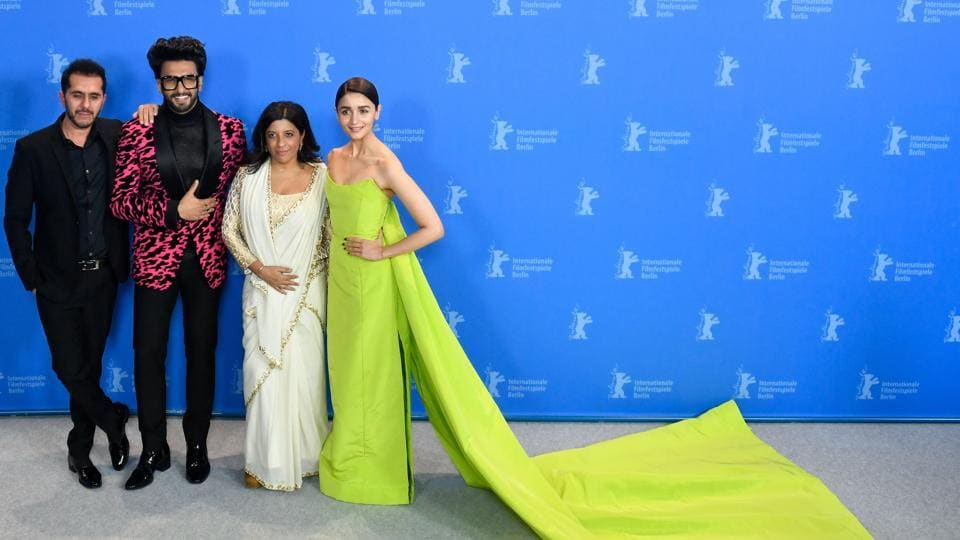 Producer Ritesh Sidhwani, Ranveer Singh, director Zoya Akhtar and Alia Bhatt pose during a photocall for the film Gully Boy presented in the special gala section at the 69th Berlinale film festival on February 9, 2019 in Berlin. (Photo by John MACDOUGALL / AFP)