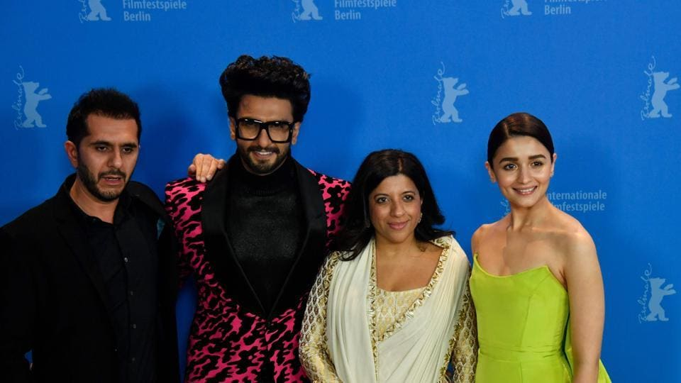 Producer Ritesh Sidhwani, actor Ranveer Singh, director Zoya Akhtar and actor Alia Bhatt pose during a photocall for the film Gully Boy presented in the special gala section at the 69th Berlinale film festival.