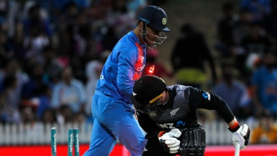 MS Dhoni  stumps Tim Seifert in Hamilton.
