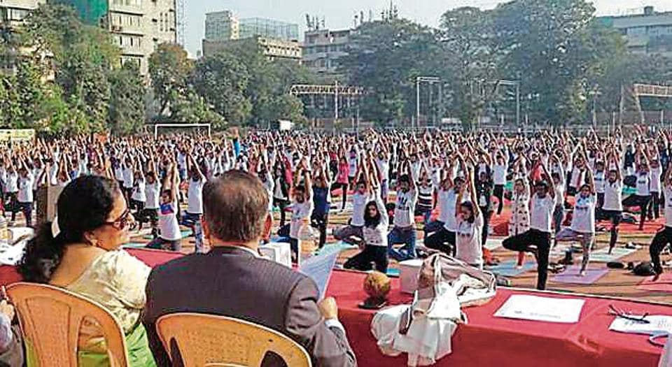 Students of RD National College, Bandra, participate in a yoga workshop organised on the college premises recently.