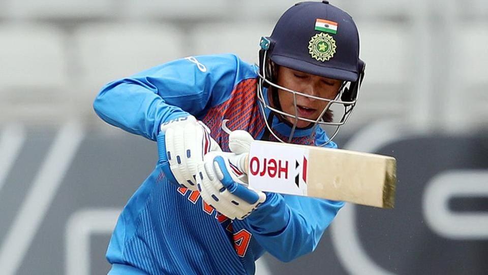 Smriti Mandhana plays a shot during the third Twenty20 international women's cricket match.