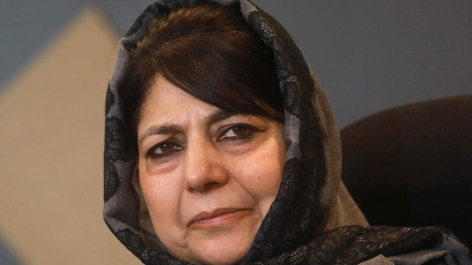SRINAGAR, INDIA - DECEMBER 07:Former Chief Minister of Jammu and Kashmir and PDP Chief Mehbooba Mufti looks during a press conference at her residence on December 07, 2018 in Srinagar, India.(Photo by Waseem Andrabi/ Hindustan Times)