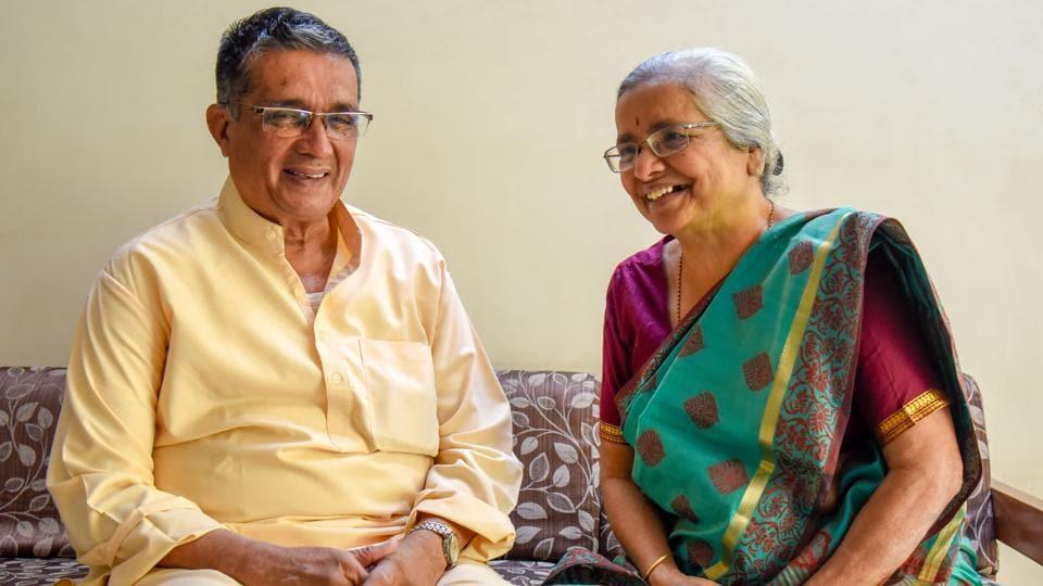 Avinash Barve(L) and Nanda Barve at their home in Karvenagar Pune