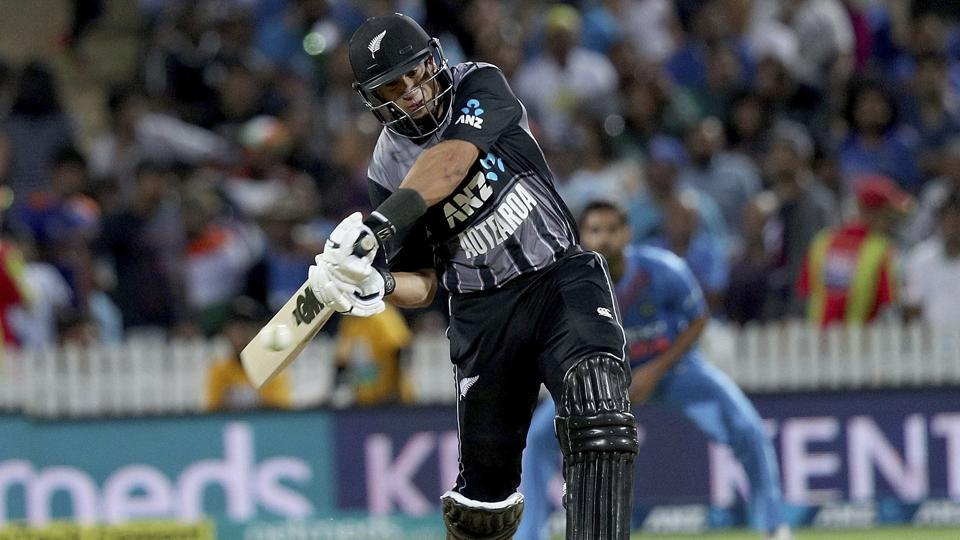 New Zealand's Ross Taylor bats during their twenty/20 cricket international against India. (AP)