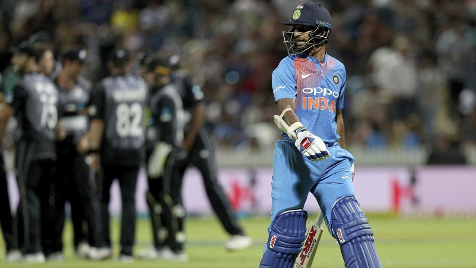 India's Shikhar Dhawan leaves the field after being caught by New Zealand's Daryl Mitchell. (AP)