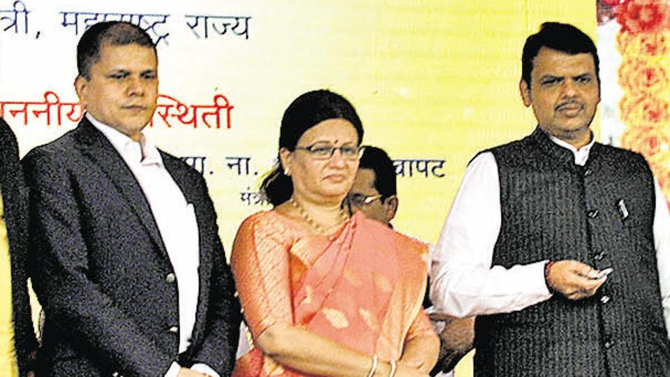 (From left) Saurabh Rao, Pune municipal commissioner; Mukta Tilak, Pune mayor and chief minister Devendra Fadnavis at the foundation stone laying ceremony on Saturday.