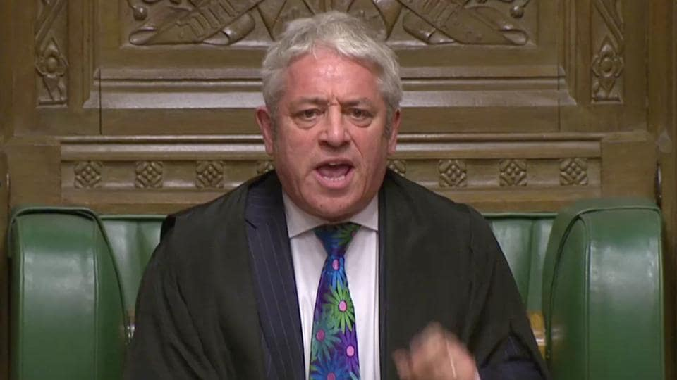 Speaker of the House John Bercow speaks during a confidence vote debate after Parliament rejected Prime Minister Theresa May's Brexit deal, in London.