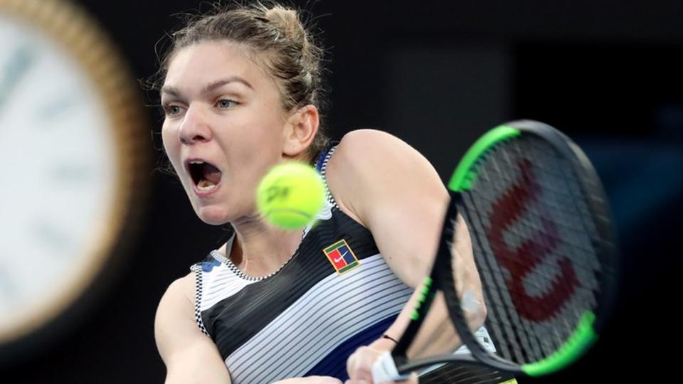 Romania's Simona Halep in action during the match against Serena Williams.
