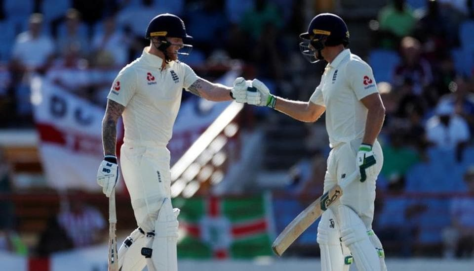 England's Jos Buttler and Ben Stokes during the match