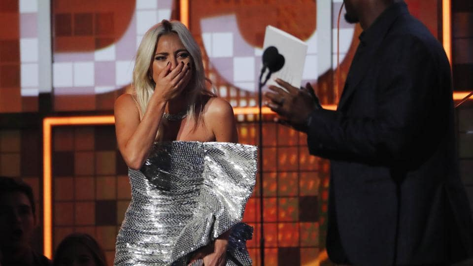 61st Grammy Awards: Lady Gaga reacts on winning Best Pop Duo/Group Performance for Shallow with Bradley Cooper (not in photo).