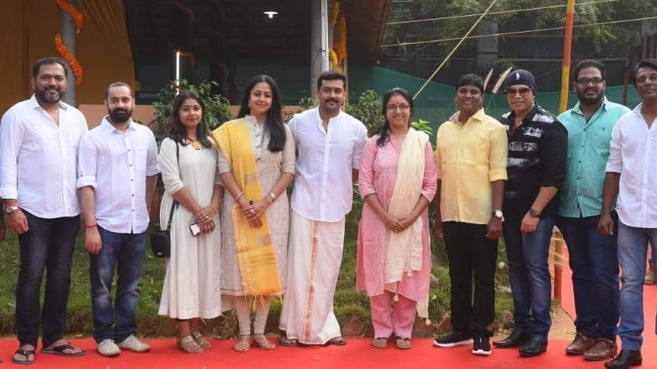 Jyotika, Revathi and Suriya with others pose for the camera at the Sunday launch of the film.