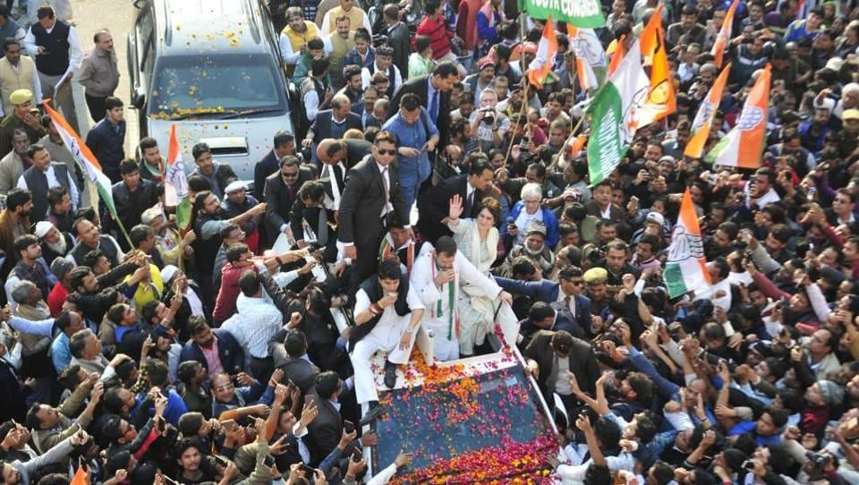 "Congress President Rahul Gandhi along with Priyanka Gandhi Vadra, Congress general secretary in-charge of east Uttar Pradesh and other senior leaders are seen during a roadshow, in Lucknow. ""We will play on front foot not on back foot. Obviously, the aim is Lok Sabha polls, but I have told Priyanka and Scindia that the bigger aim is to win UP in 2022,"" Rahul Gandhi said. (Deepak Gupta / HT Photo)"
