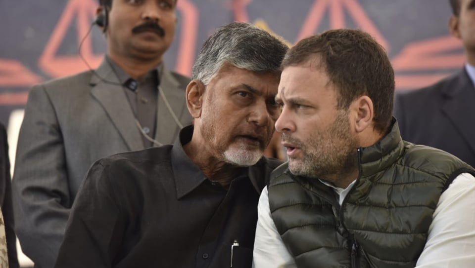 Chandrababu Naidu by his side, Rahul Gandhi said the PM has stolen from the people of Andhra Pradesh and given it to his industrialist friends.