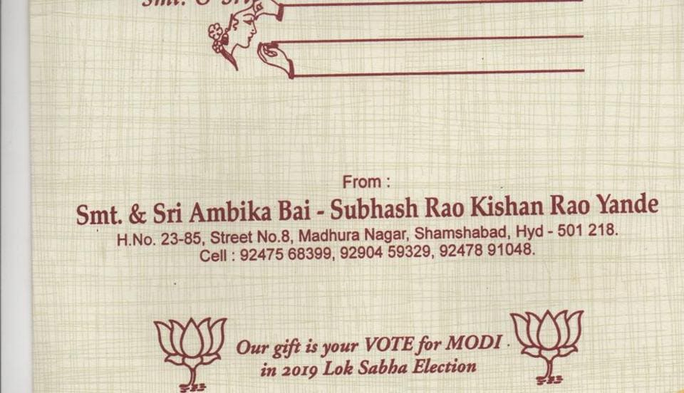 Not Money Hyderabad Bridegroom Asks Guests To Vote For Modi As