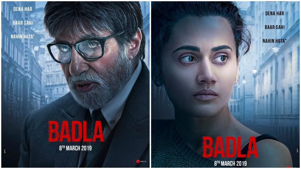 Amitabh Bachchan and Taapsee Pannu in the posters for Badla.