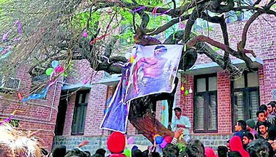 Every year on February 14, Valentine's Day, students from Hindu College's boys' hostel flock around the Virgin Tree (V-shaped tree) on the college campus. They worship a Bollywood female actor as Damdami Mai (goddess), with her poster stuck to the tree.  Last year actor Ranveer Singh and Jacqueline Fernandez were labelled 'Love Guru' and 'Damdami Mai' respectively.