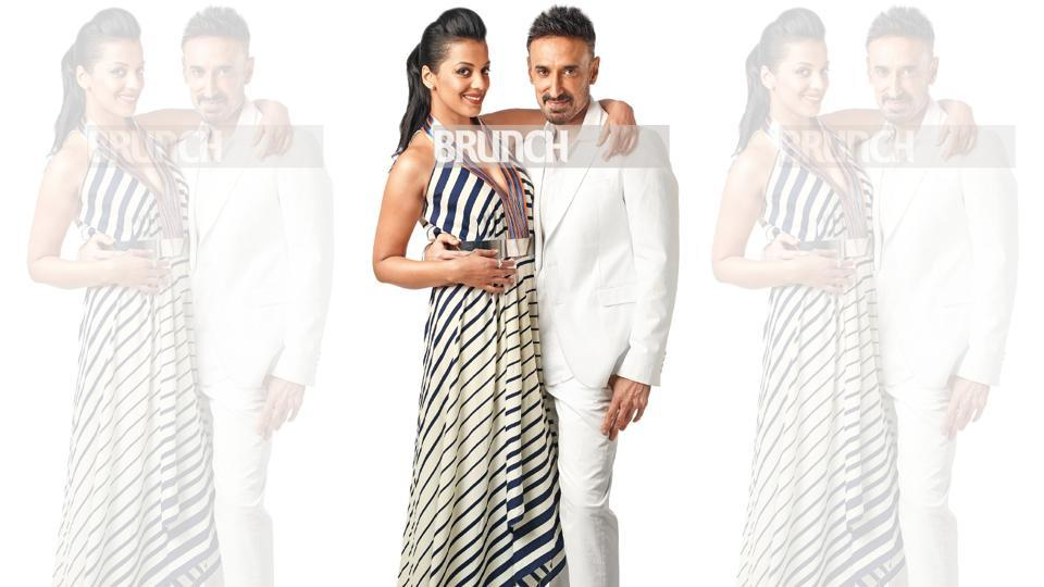 Rahul met Mugdha at the wedding of a mutual friend in 2013. On Mugdha: Dress, Amit Aggarwal; shoes, Steve Madden. On Rahul: Suit and shirt Emporio Armani; shoes, Tod's