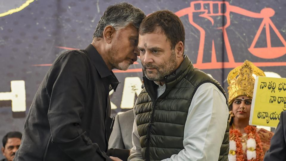 "Congress President Rahul Gandhi and Andhra Pradesh Chief Minister Chandrababu Naidu during 'Dharma Porata Deeksha', a day-long fast to demand special status for the state of Andhra Pradesh, in New Delhi. ""The PM has stolen from the people from Andhra Pradesh and given it to his industrialist friends,"" Gandhi alleged at the protest venue in an apparent reference to the Rafale fighter jet deal with France. (Kamal Singh / PTI)"