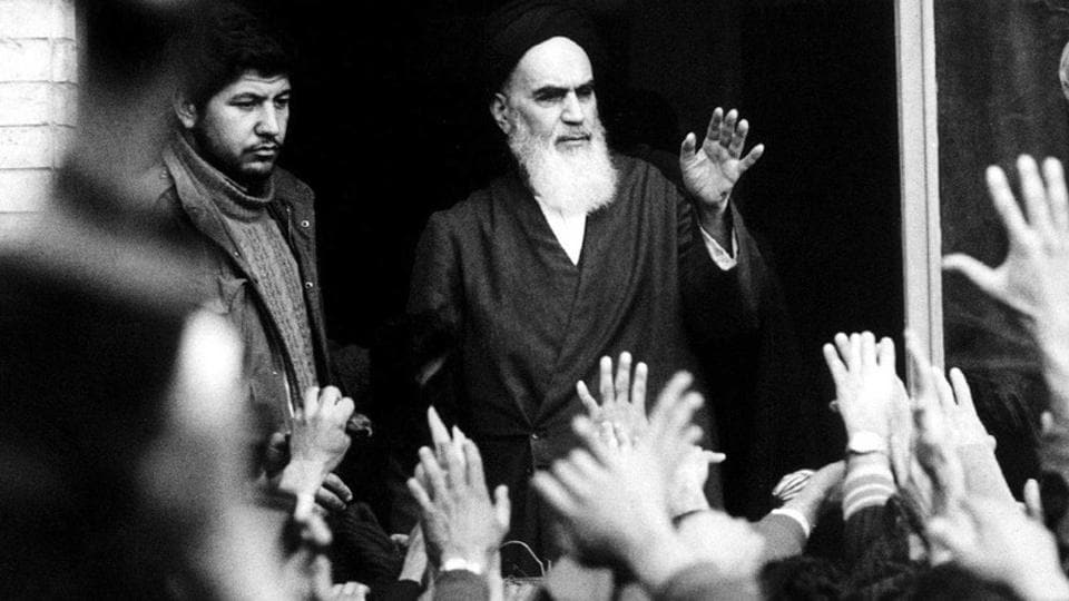 Ayatollah Ruhollah Khomeini (C), is greeted by supporters at the Alavi School upon his return in Tehran, Iran on February 1, 1979. Unrest sprouted with religious riots in the holy city of Qom a year ago on January 7 in 1978. The death of seven demonstrators set off a cycle of anti-Shah violence on each successive 40th day of mourning. (REUTERS File)