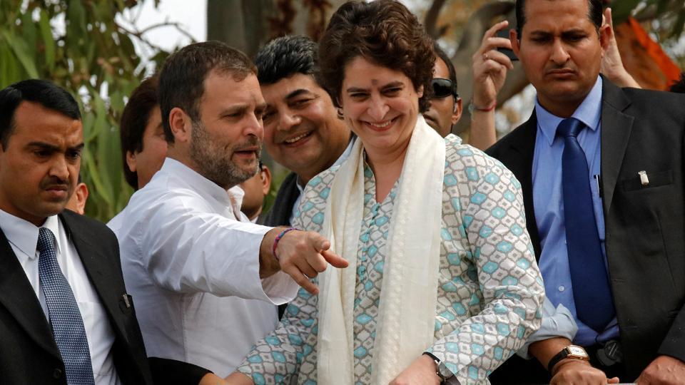 Congress president Rahul Gandhi with his sister Priyanka Gandhi Vadra,.