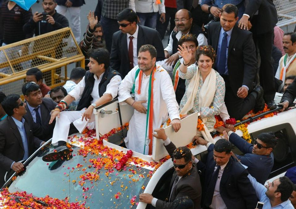 Priyanka Gandhi Vadra, a leader of Congress party and sister of the party president Rahul Gandhi, waves to her supporters during a roadshow in Lucknow.