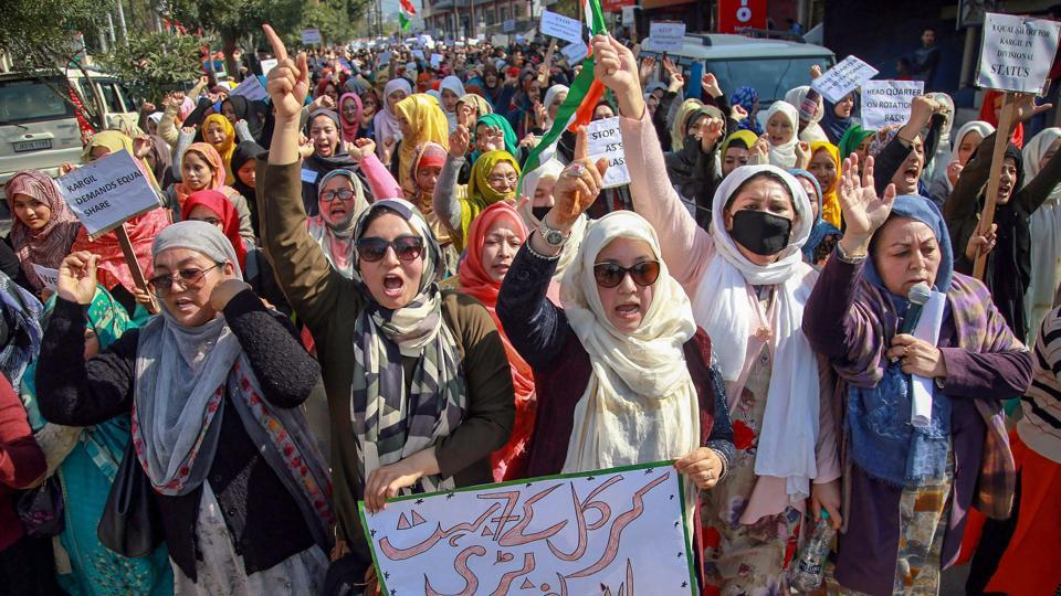 Residents of Kargil district raise slogans during a protest against Leh being made the permanent headquarters of the newly created Ladakh division, in Jammu. The people of Kargil are demanding that divisional commissioner and IGP offices function on rotational basis -- in Kargil during summers and in Leh during winters. (PTI)