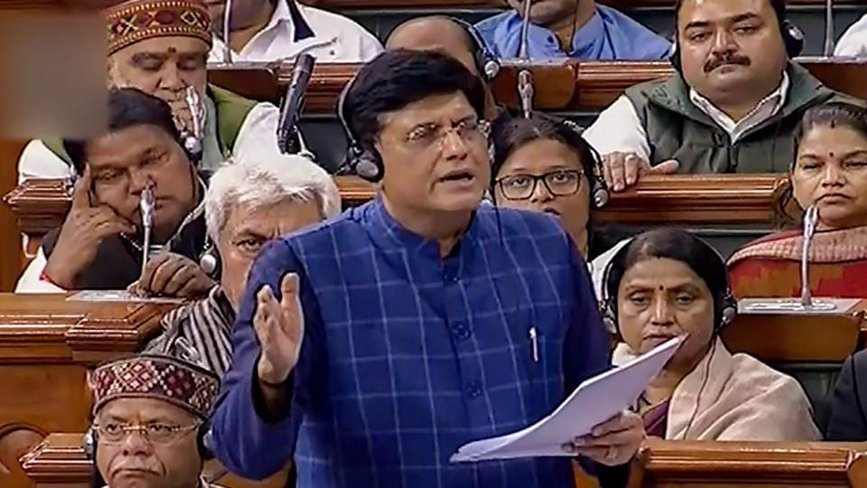 Railways minister Piyush Goyal speaks in the Lok Sabha during the Budget Session of Parliament in New Delhi on February 11.