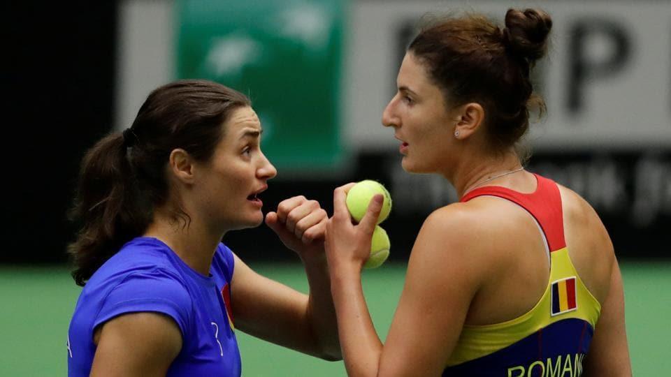 Romania's Monica Niculescu and Irina-Camelia Begu during their match against Czech Republic's Barbora Krejcikova and Katerina Siniakova.