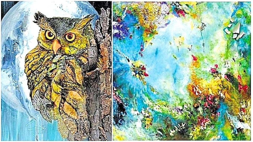 Nocturnal XXXIII from Bahaar Dhawan Rohatgi's Nocturnal series; Mirage, an artwork from her Interstellar series. (Raajessh Kashyap/ HT Photo)