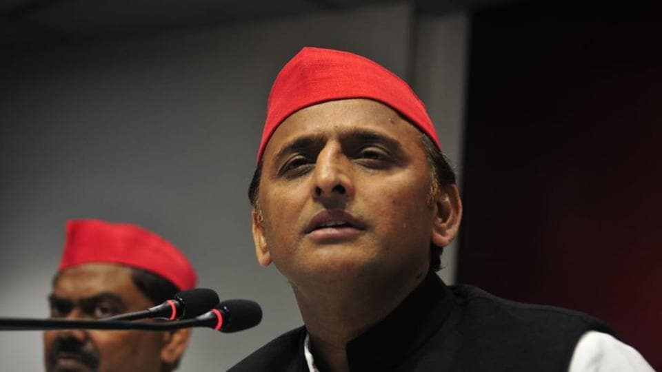 "Alleging that he was stopped from boarding a plane from Lucknow to Allahabad, Samajwadi Party chief Akhilesh Yadav lashed out at the Yogi Adityanath government on Tuesday saying it believes in ""roko, thoko neeti"" (policy of stop and encounter). Yadav claimed that he was prevented from participating in a students' union function at Allahabad University. (Deepak Gupta / HT Photo)"
