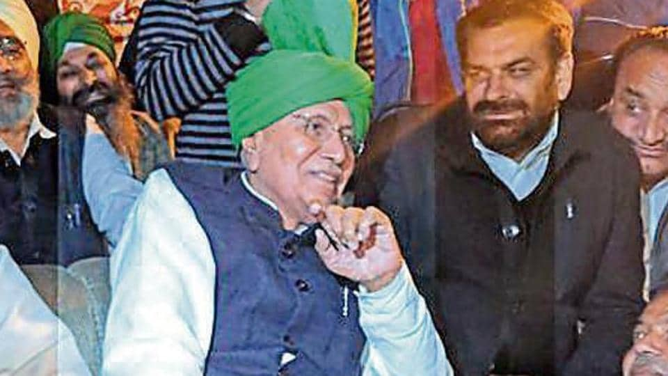 INLD president Om Prakash Chautala at a party workers' meeting in Ambala on Monday, Feb 11, 2019.