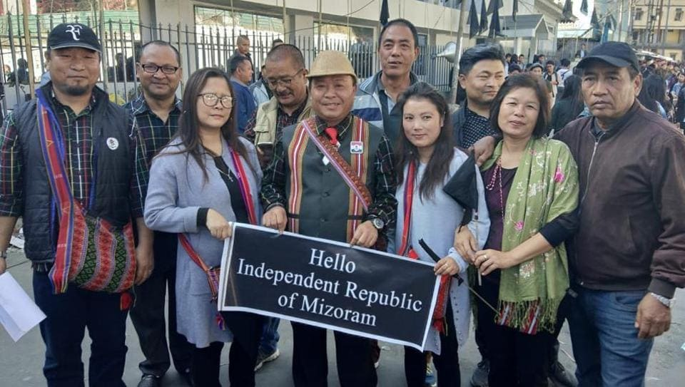 Agitators including former chief minister Lalthanhawla were seen with black flags and placards reading 'Hello Independent Republic of Mizoram.'