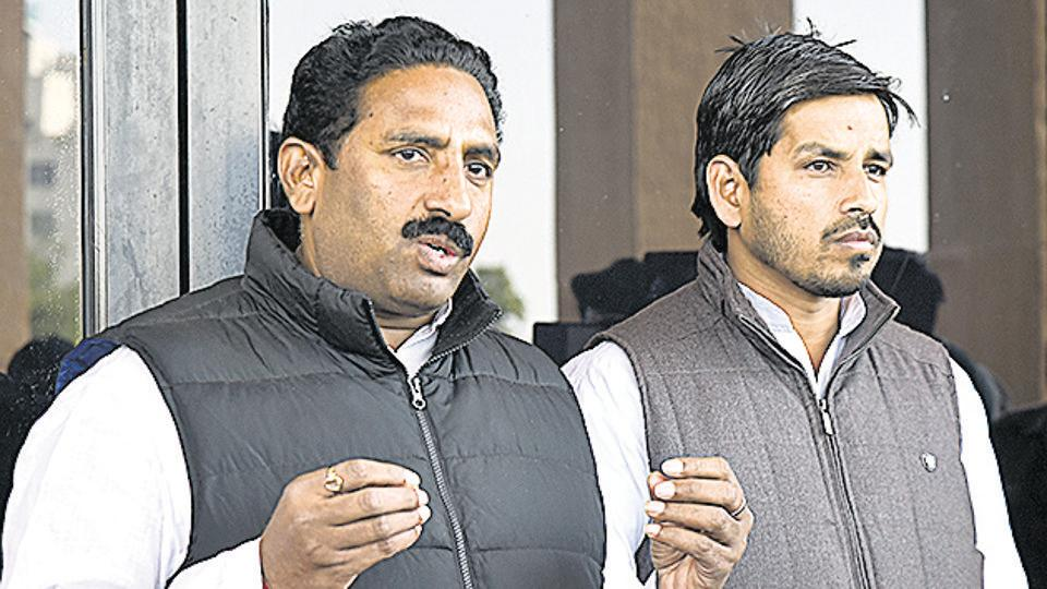 BSP MLAS Joginder Singh Awana and Sandeep Kumar talking to media outside the Rajasthan assembly on Monday, Feb 11, 2019.