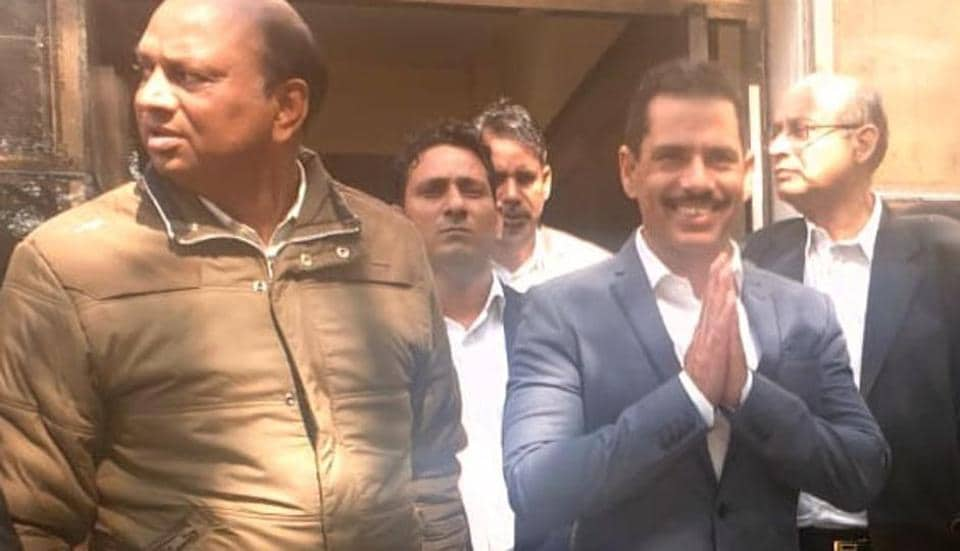 Robert Vadra arrives at Enforcement Directorate office in Jaipur on Tuesday for questioning in connection with a money-laundering case related to a land scam in Bikaner.