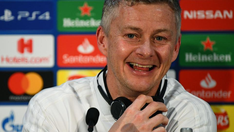 Manchester United's Norwegian caretaker manager Ole Gunnar Solskjaer attends a press conference at Old Trafford in Manchester