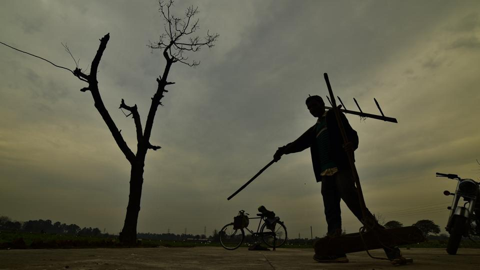 A farmer carrying his plow on his shoulder after ending up with the day on cloudy evening at his fields in a village near in Ludhiana. Image for representation.