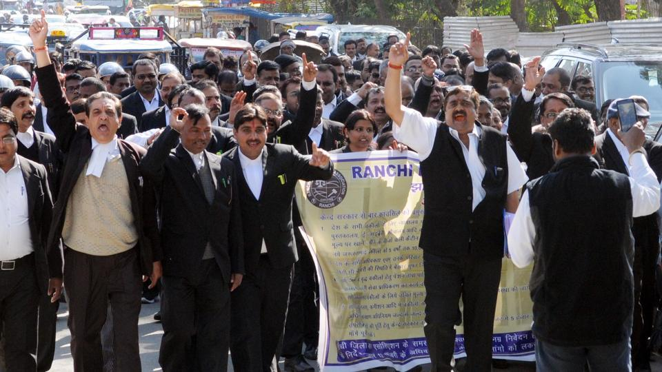 Members of Ranchi district bar association (RDBA) took out a procession to press their eight-point charter of demands on Feb 11, 2019.  Lawyers across the country will observe a strike on Tuesday to press for their demand for allocation of Rs 5,000-cr in budget for their welfare.