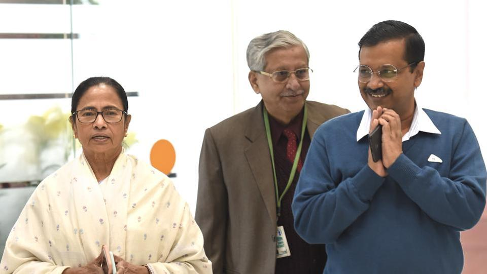 Chief minister of West Bengal Mamata Banerjee with chief minister of Delhi Arvind Kejriwal during a meeting of opposition parties at Parliament House Annexe in New Delhi on December 10.