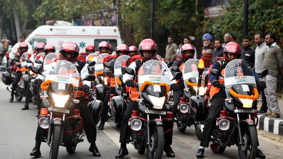 The Delhi government has launched a motorcycle ambulance service.